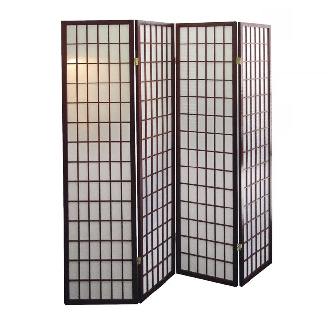 Ore International R566-4 4-Panel Room Divider - Cherry