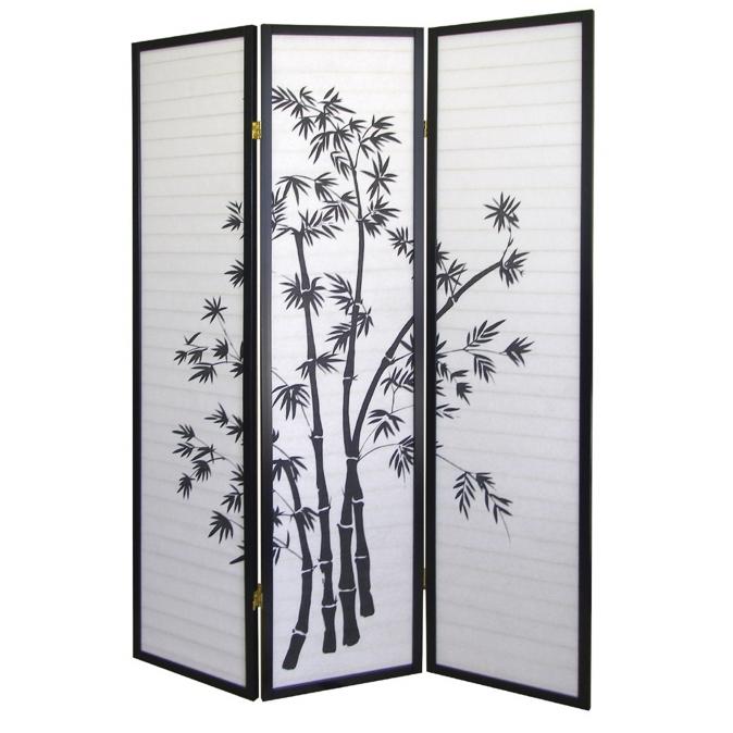 Ore International R591 3-Panel Room Divider - Bamboo