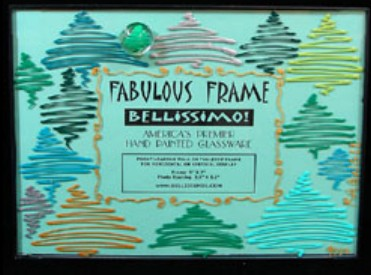 Bellissimo FFRS-9002 Hand Painted Holiday Forest Design 5 x 7 Inch Frame with Rectangle Photo Opening