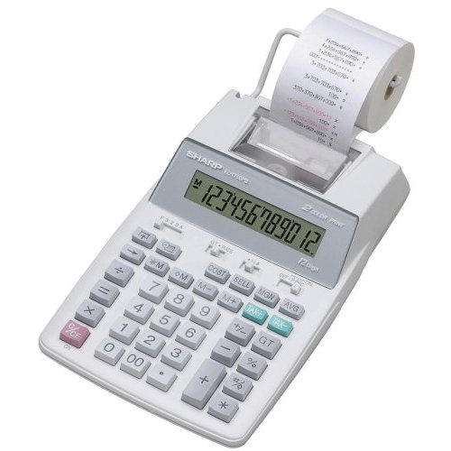 Sharp EL1750V Printing Calculator - 12 Character(s)  - LCD - Power Adapter  Battery