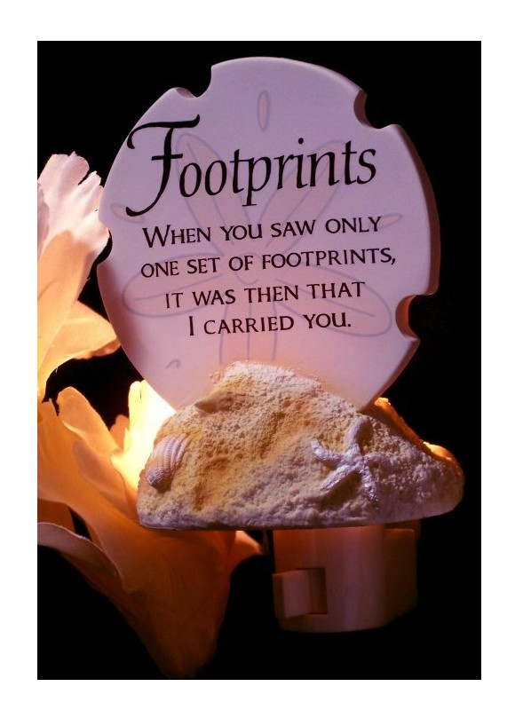 IWDSC 0183-73857 Stone Resin Footprints Poem Night Light