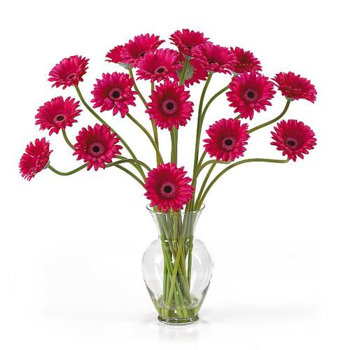 Nearly Natural 1086-BU Gerber Daisy Liquid Illusion