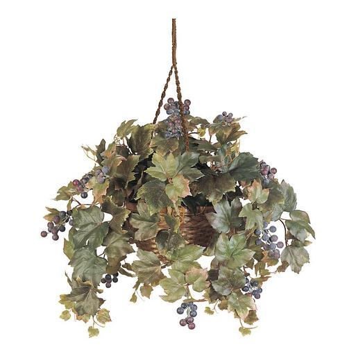Nearly Natural 6026 All Season Grape Leaf Hanging Basket