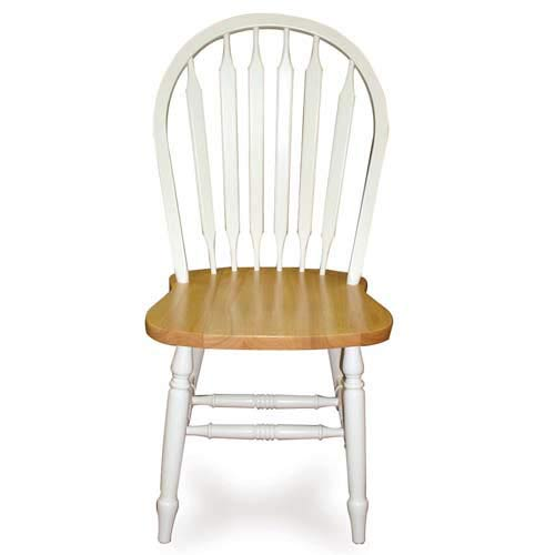 International Concepts C02-213 WHT/NAT 38 Inch High Arrowback Chair - WITH TURN LEGS