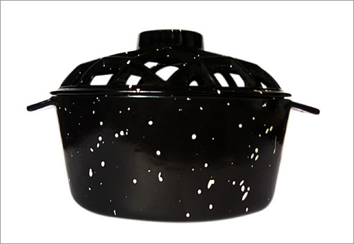 Uniflame C-1929 PORCELAIN COATED LATTICE TOP STEAMER- BLACK WITH WHITE SPECKLES