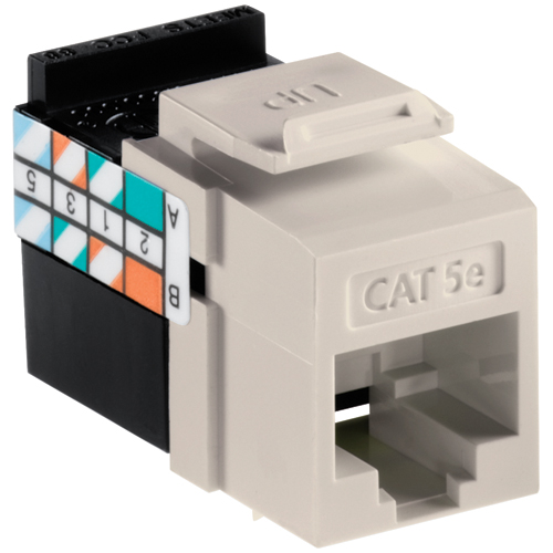 Leviton 5G108-RT5 QuickPort CAT-5E Jack - Light Almond