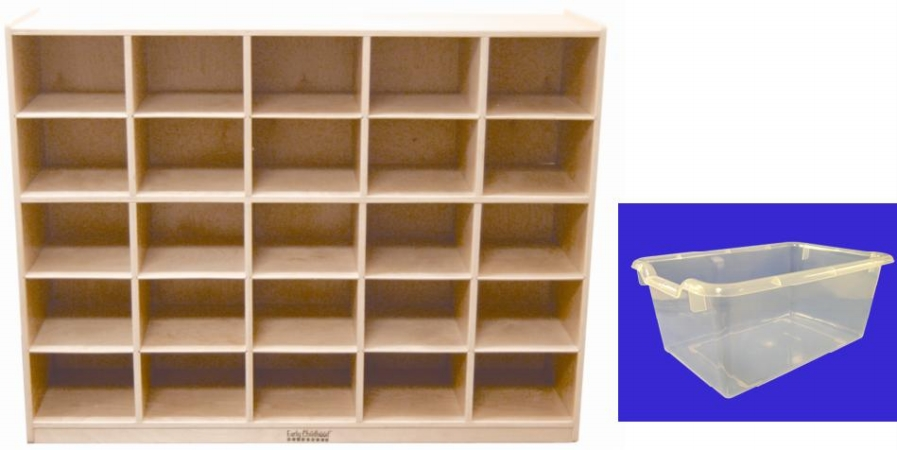 Early Childhood Resources ELR-0427-CL 25 Tray Cabinet With Clear Bins