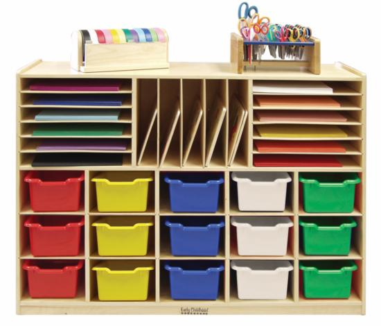 Early Childhood Resources ELR-0428-AS Multi Section Cabinet With 15 Assorted Bins