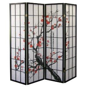 Ore International R5428-4 4-Panel Room Divider - Plum Blossom