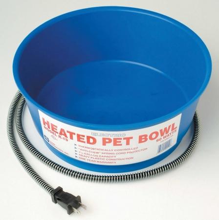 60 Watt R-19 Heated Round Pet Bowl - Blue  - R-19