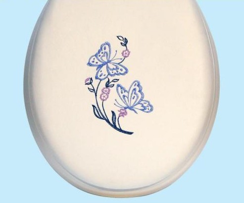 Centoco HPS20BF-001 Butterfly Embroidered Soft Vinyl Toilet Seat