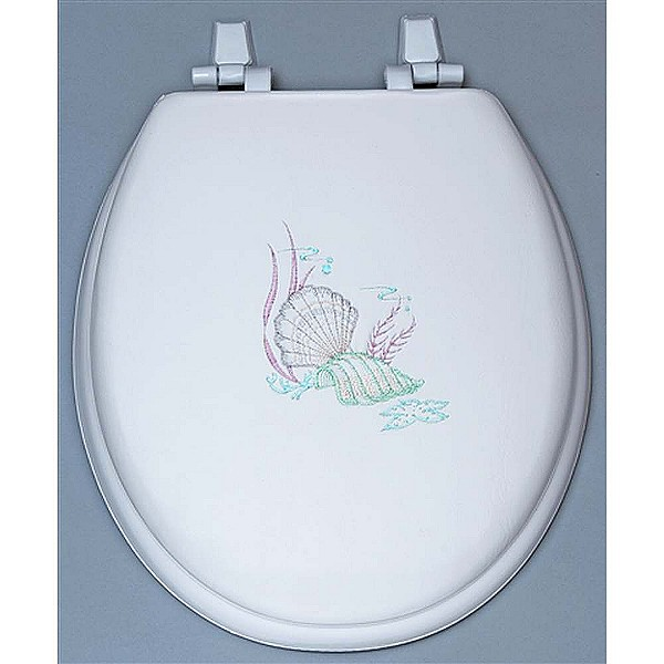 Centoco HPS20SS-001 Sea Shell Embroidered Soft Vinyl Toilet Seat