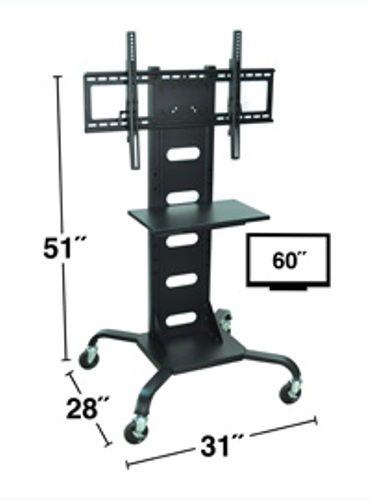 H. Wilson WPSMS51 51 Inch Plasma Stand with 4 Inch Casters- Black