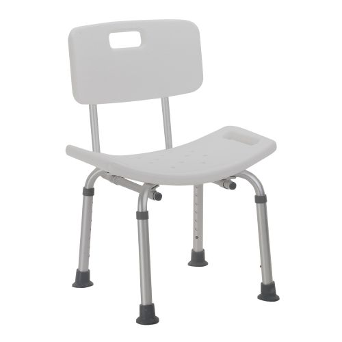 Drive Medical 12202KDR-1 Designer Series Deluxe Bath Bench with Back- White