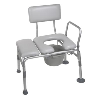 Drive Medical 12005KDC-1 Combination Padded Seat Transfer Bench with Commode Opening- Gray