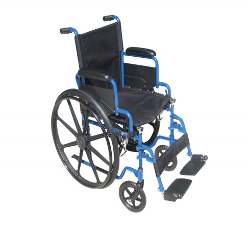 Drive Medical BLS18FBD-SF Blue Streak Wheelchair with Flip Back Detachable Desk Arms and Swing-away Foot Rest- Blue