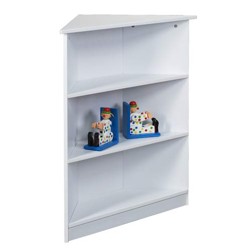 "Giftmark 5000w 36""H Corner Three Tier Bookcase with Top Shelf in White"