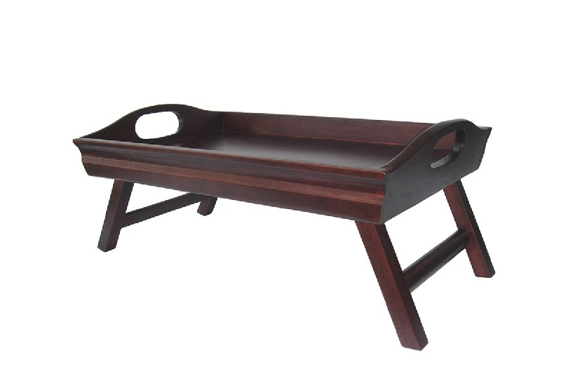 Winsome 94725 Sedona Bed Tray Curved Side Foldable Legs Large Handle- Antique Walnut