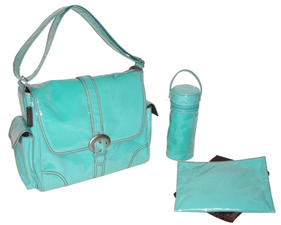 Kalencom 88161223117 Aqua Corduroy Laminated Buckle Bag