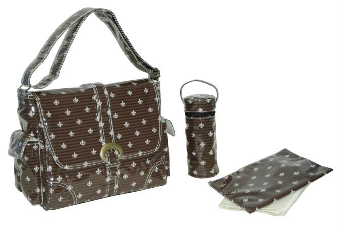 Kalencom 88161225890 Chocolate-Cream Fleur de Lis Laminated Buckle Bag