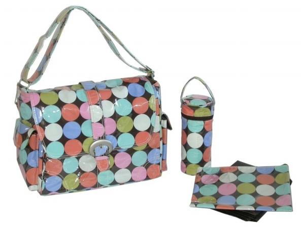 Kalencom 88161222004 Disco Dots Cocoa Laminated Buckle Bag