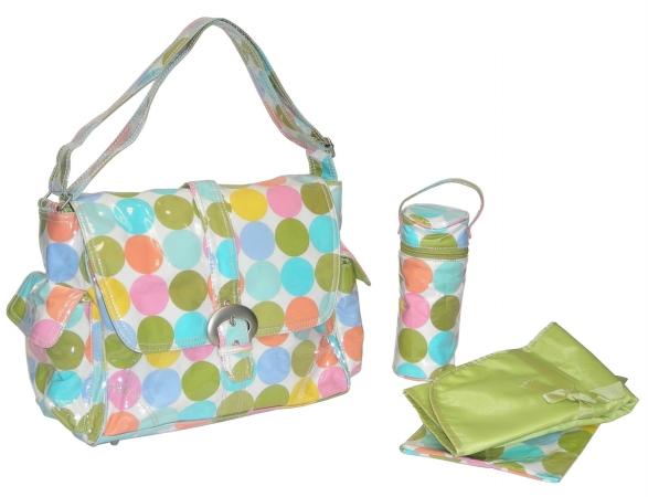 Kalencom 88161222929 Disco Dots Cream Laminated Buckle Bag