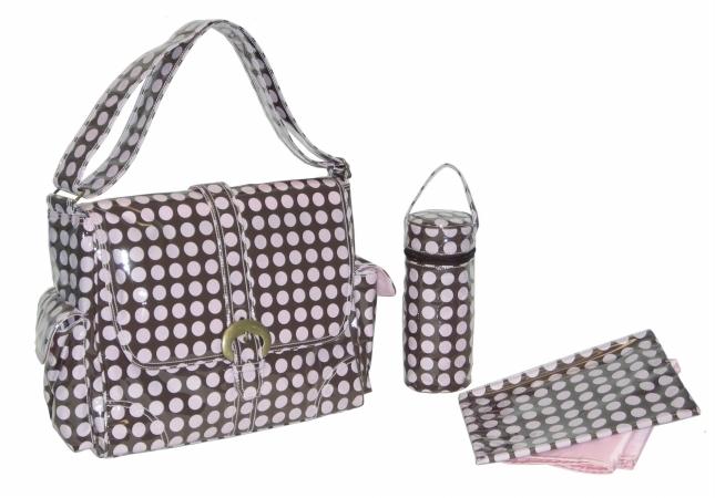 Kalencom 88161225920  Pink-Chocolate Heavenly Dots Laminated Buckle Bag