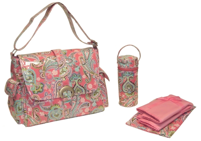 Kalencom 88161229805  Pink Cotton Candy Paisley Laminated Buckle Bag
