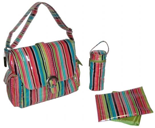 Kalencom 0-88161-22313-1 Watermelon Pretty Stripe Laminated Buckle Bag