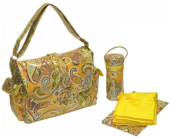 Kalencom 0-88161-23273-7 Yellow Florentine Paisley Laminated Buckle Bag