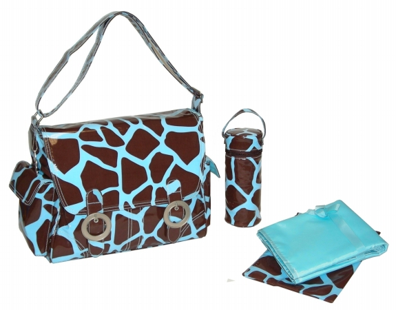 Kalencom 88161226118 Chocolate-Blue Giraffe Coated Double Buckle Bag