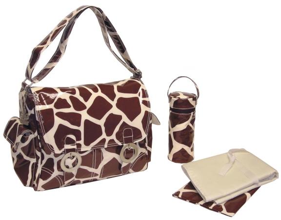 Kalencom 0-88161-23266-9 Chocolate-Cream Giraffe Coated Double Buckle Bag