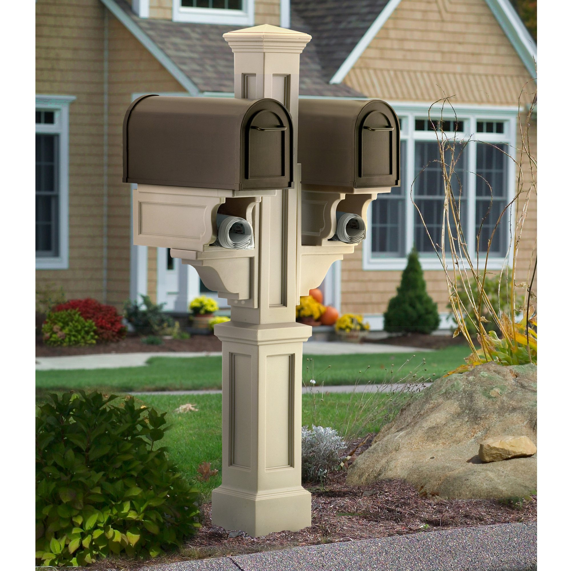 MAYNE 5811C Rockport Double Mailbox Post- Clay