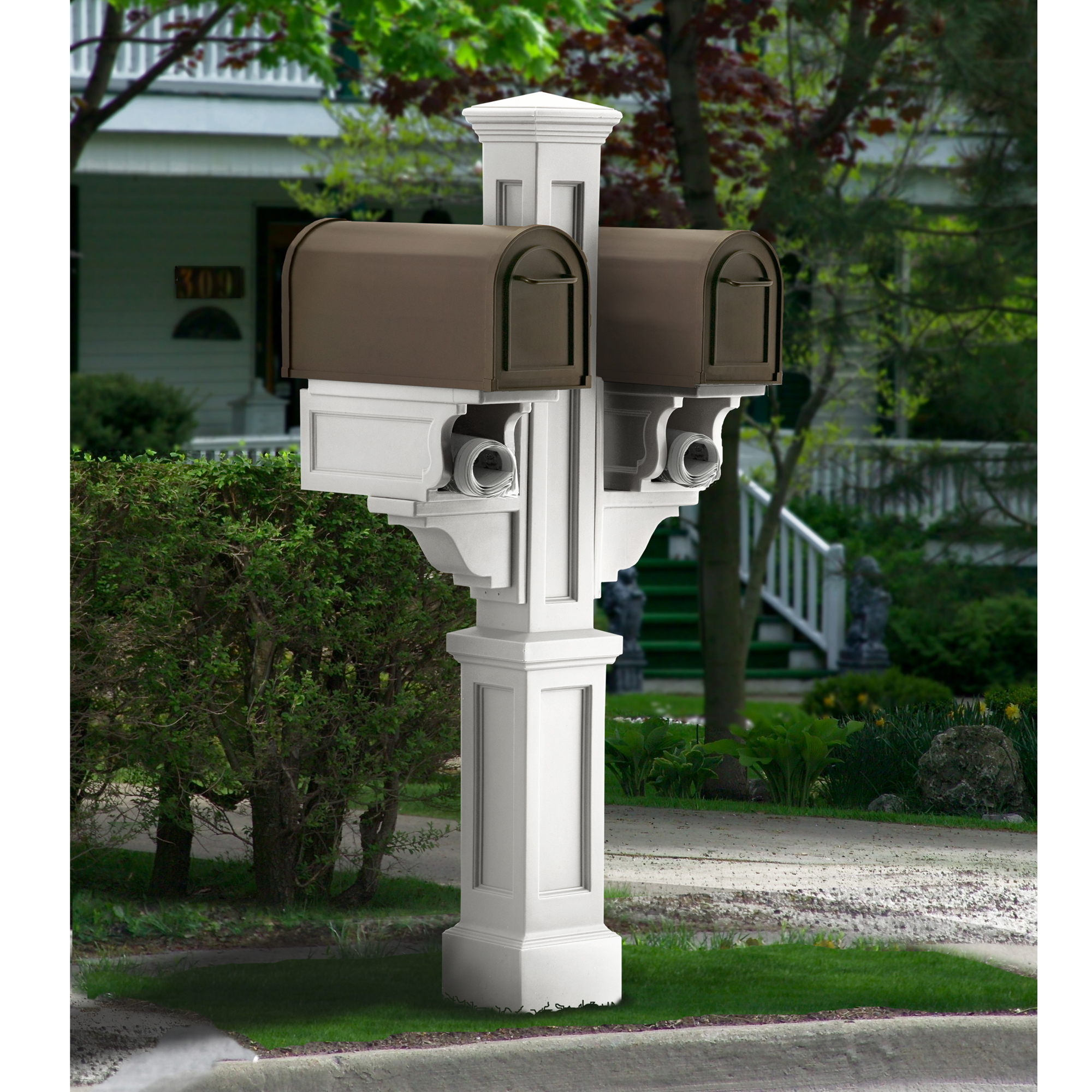 MAYNE 5811W Rockport Double Mailbox Post- White