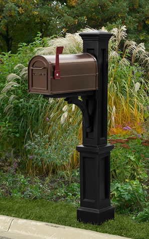 MAYNE 5813B Newport Plus Mailbox Post- Black