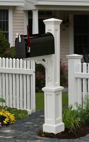 MAYNE 5813W Newport Plus Mailbox Post- White