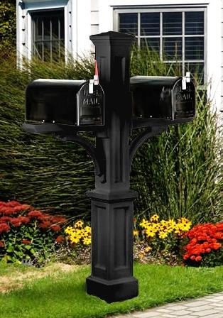 MAYNE 5814B Newport Plus Double Mailbox Post- Black