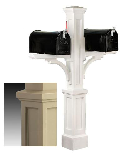MAYNE 5814C Newport Plus Double Mailbox Post- Clay