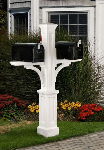 MAYNE 5814W Newport Plus Double Mailbox Post- White