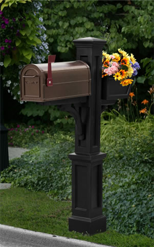 MAYNE 5830B Westbrook Plus Mailbox Post- Black