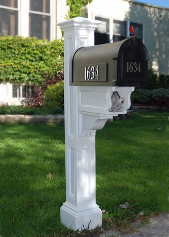 MAYNE 5846W Charleston Plus Mailbox Post- White