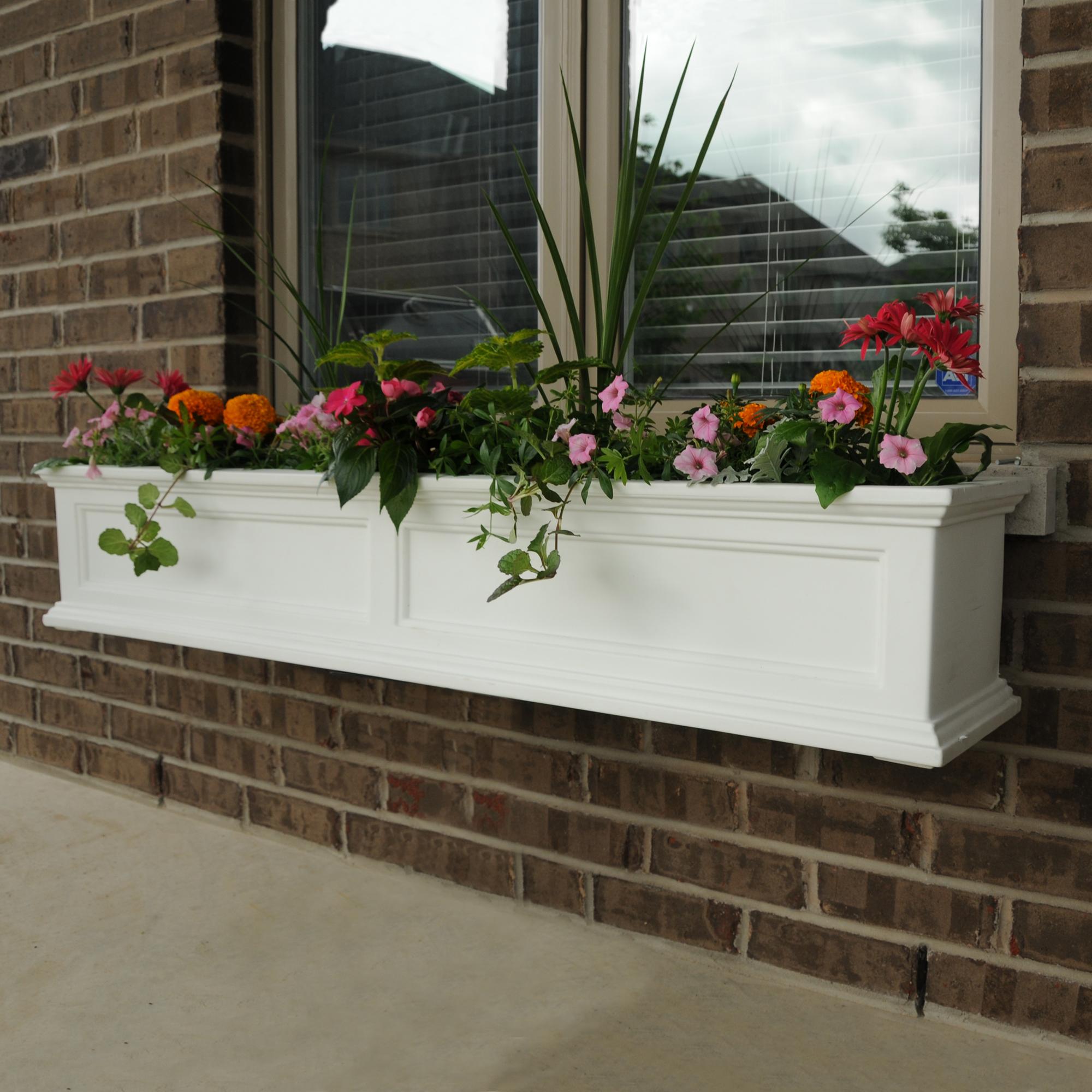 MAYNE 5824W 5-Foot Fairfield Window Planter Box with Brackets - White