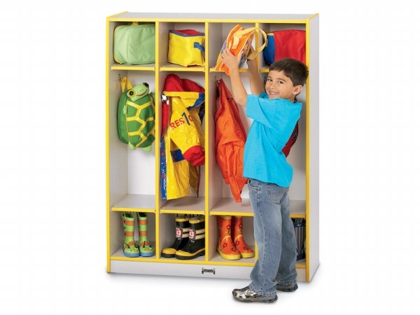Jonti-Craft 0268JCWW007 Rainbow Accents Coat Locker- 4 Sections- Yellow