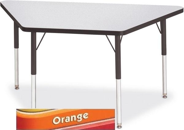 "Trapezoid Activity Tables - 30"" X 60"", E-height - Gray/Orange/Orange - Kids Clas"