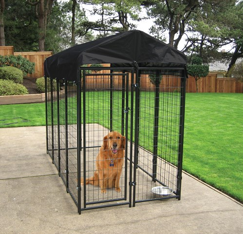Lucky Dog 6'H x 4'W x 8'L Uptown Welded Wire Kennel w/Cover and Frame-CL 60548