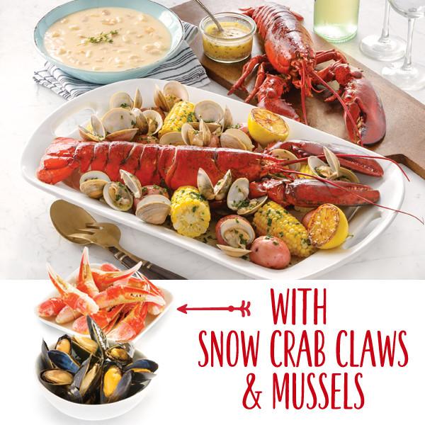 Lobster Gram BSGR4Q BOSTON PARTY GRAM DINNER FOR FOUR WITH 1.25 LB LOBSTERS