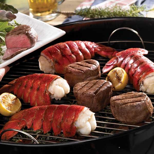 Lobster Gram M6FM6 SIX 6-7 OZ MAINE LOBSTER TAILS AND SIX 8 oz. FILET MIGNON STEAKS
