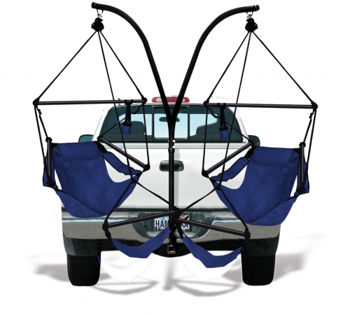 KingsPond  40501-KP Hammaka Trailer Hitch Stand With Midnight Blue Hammaka Chairs Combo