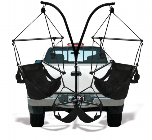 KingsPond  40508-KP Hammaka Trailer Hitch Stand with Jet Black Hammaka Chairs Combo