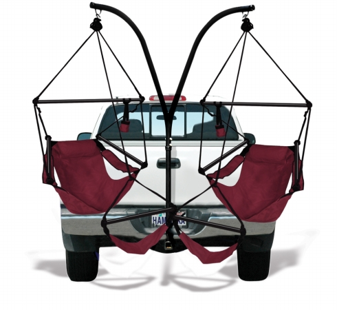KingsPond  40509-KP Hammaka Trailer Hitch Stand with Burgundy Hammaka Chairs Combo
